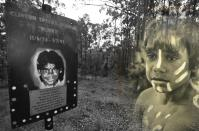 A sign erected at the site where Clinton Speedie-Duroux's body was found in February 1991. The sign has been replaced three times after being ripped down by rednecks. It's now secured with concrete footings. Clinton was 16 years old when he disappeared from the Bowraville Mission.