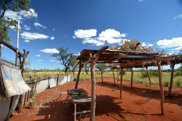 A typical scene from Central Australia. This is at Camel Camp in the Utopia region.