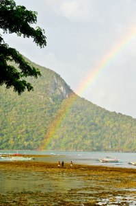Archetypal rainbow shot. This one is at El Nido, in Palawan, a stunning little village on the northern end of the island. (IMAGE: CHRIS GRAHAM)