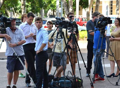 The Darwin press pack awaits the appearance of Adam Giles, after news broke that Chief Minister Terry Mills had lost the support of his parliamentary colleagues.