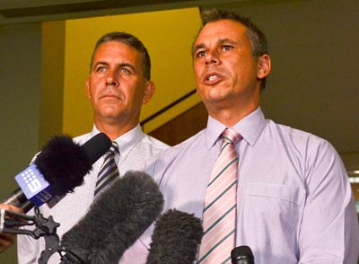 Adam Giles, the first Aboriginal Chief Minister of the Northern Territory, and his soon to be deputy Dave Tollner, at a press conference in Darwin on March 13. It came a few hours after party colleagues dumped former Chief Minister Terry Mills.