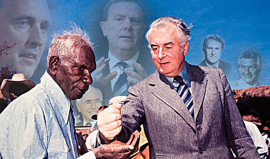 Gough Whitlam famously pours sand into the hands of Vincent Lingiari in 1974, as he announces the return of Aboriginal land to traditional custodians. Just a few weeks earlier, Whitlam cut funding to the Aboriginal budget despite a massive increase in the government's coffers.