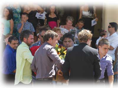 The funeral of land rights legend Rick Griffiths. It was held at the Maitland Town Hall in order to accommodate the massive guest list, which topped 1,000.
