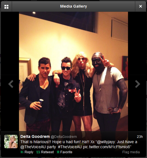 Delta Goodrem's tweet promoting blackface.