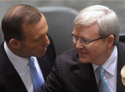 Opposition Leader Tony Abbott and Prime Minister Kevin Rudd... or is that Prime Minister Abbott and Opposition leader Kevin Rudd.