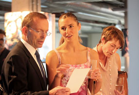 Prime Minister Tony Abbott with daughter and Whitehouse graduate Frances, and wife Margaret.